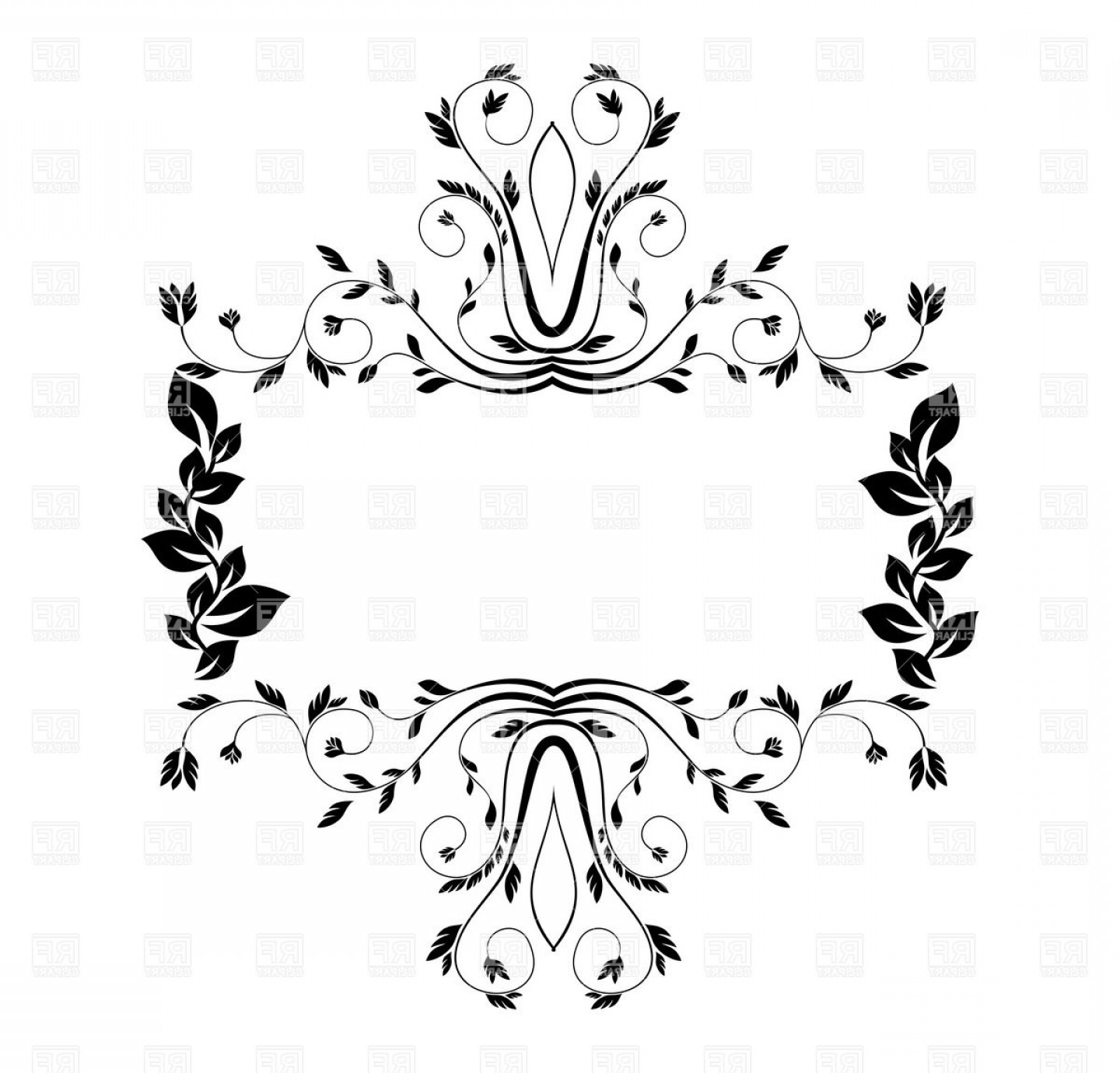 Florid Vector Simple: Nature Style Floral Frame With Leaves And Twig Curls Vector Clipart
