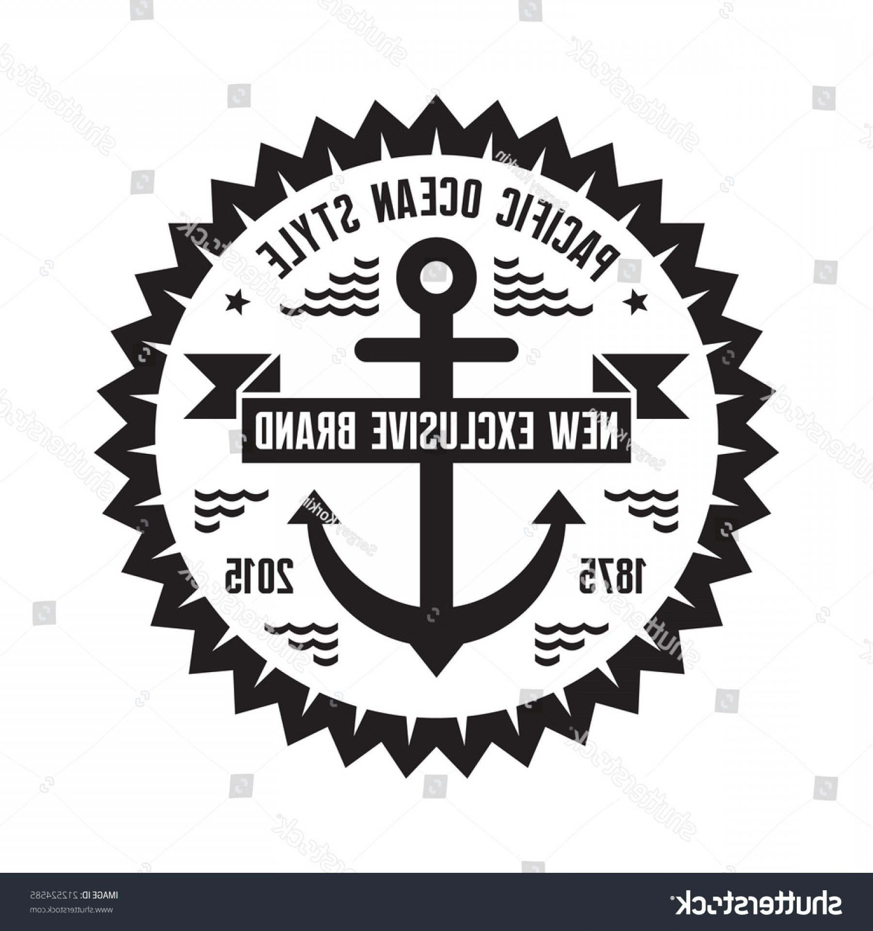 Nautical Star Vector Logo: Nautical Marine Logo Badge Pacific Ocean