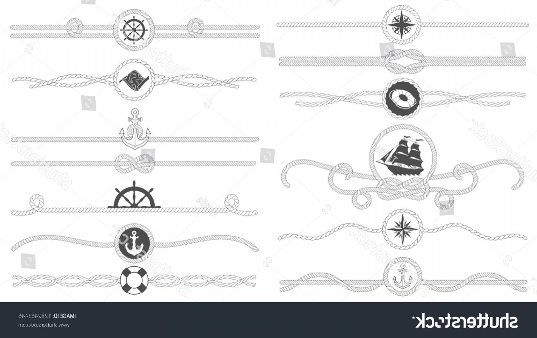 Nautical Text Divider Vector: Nautical Rope Border Tied Ropes Line