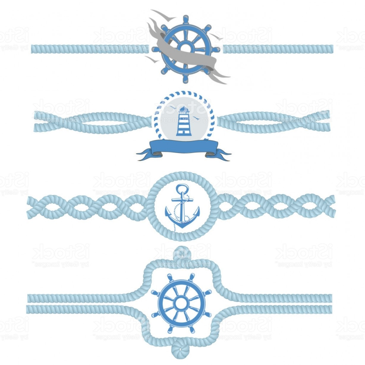 Nautical Text Divider Vector: Nautical Rope Vector Borders Dividers Vintage Design Frame Illustration Gm
