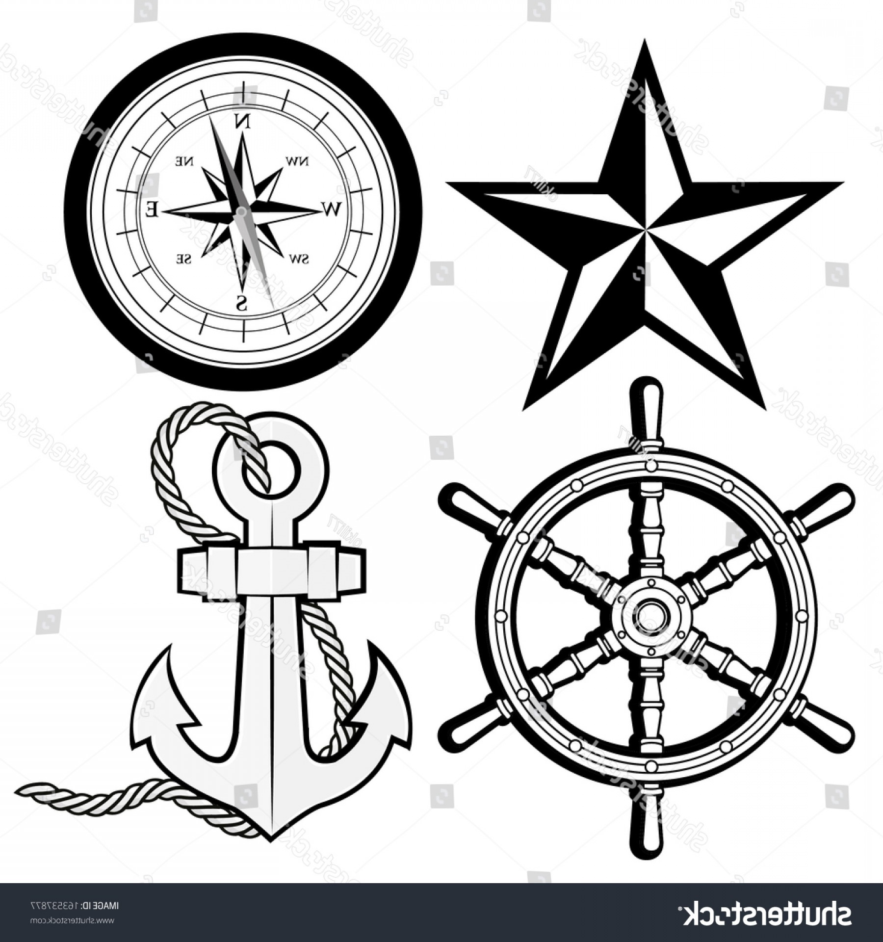 Nautical Star Vector Logo: Nautical Star Compass Rudder Anchor Rope