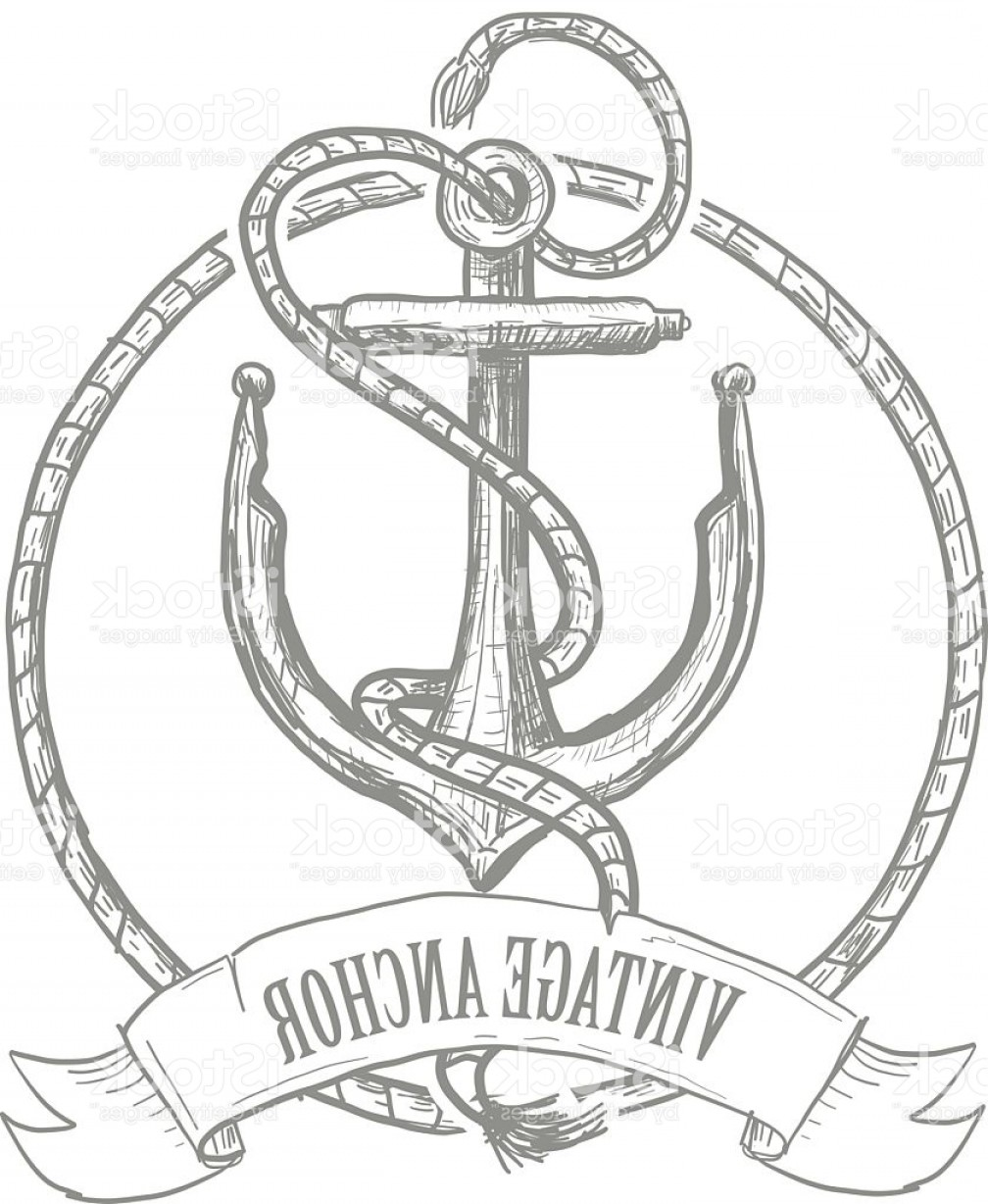 Design Vector Image Of Rope: Nautical Themed Anchor Design With Rope And Banner Gm