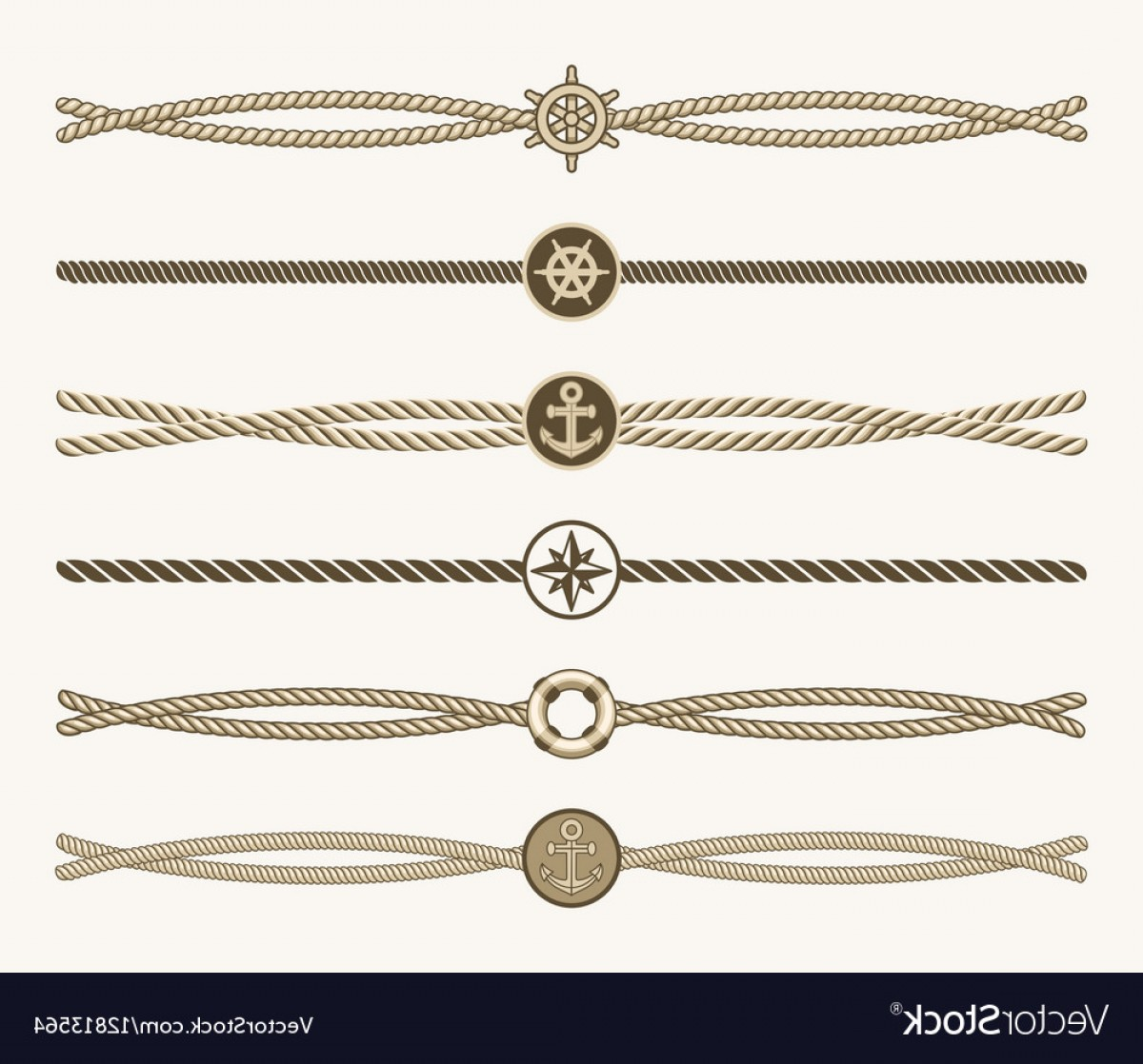 Nautical Text Divider Vector: Nautical Vintage Rope Dividers Vector