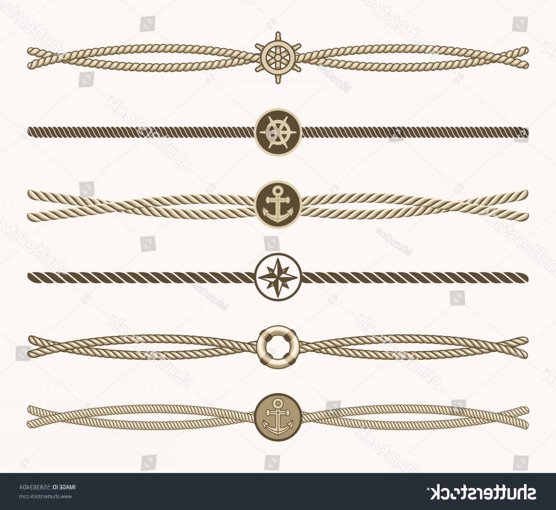 Design Vector Image Of Rope: Nautical Vintage Rope Vector Dividers Design