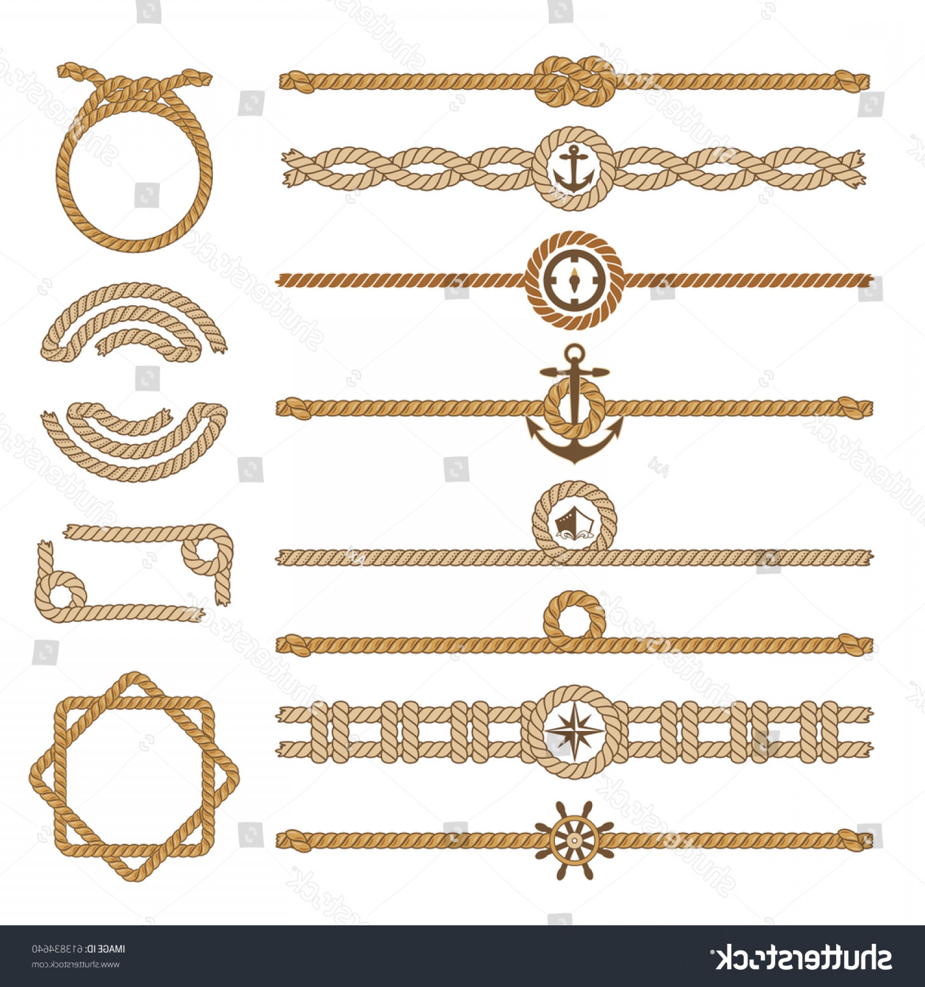 Design Vector Image Of Rope: Nautical Vintage Rope Vector Dividers Elements