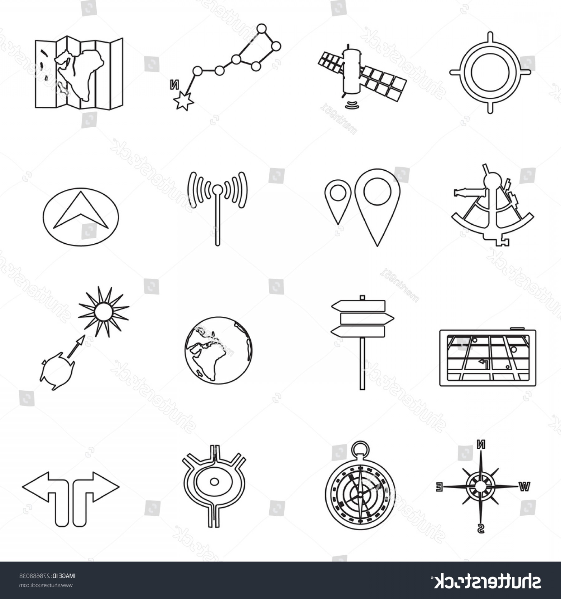 Vector Navigation Problems: Navigation Travel Outline Icons Set Eps