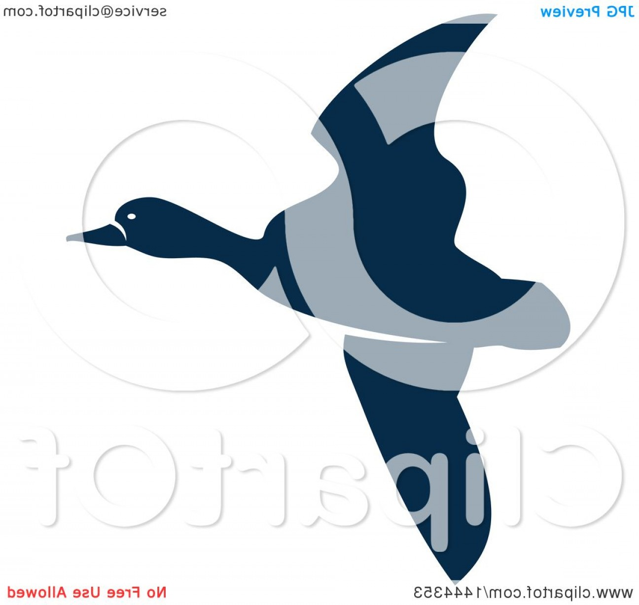 Geese Vector: Navy Blue Flying Duck Or Goose With A White Outline