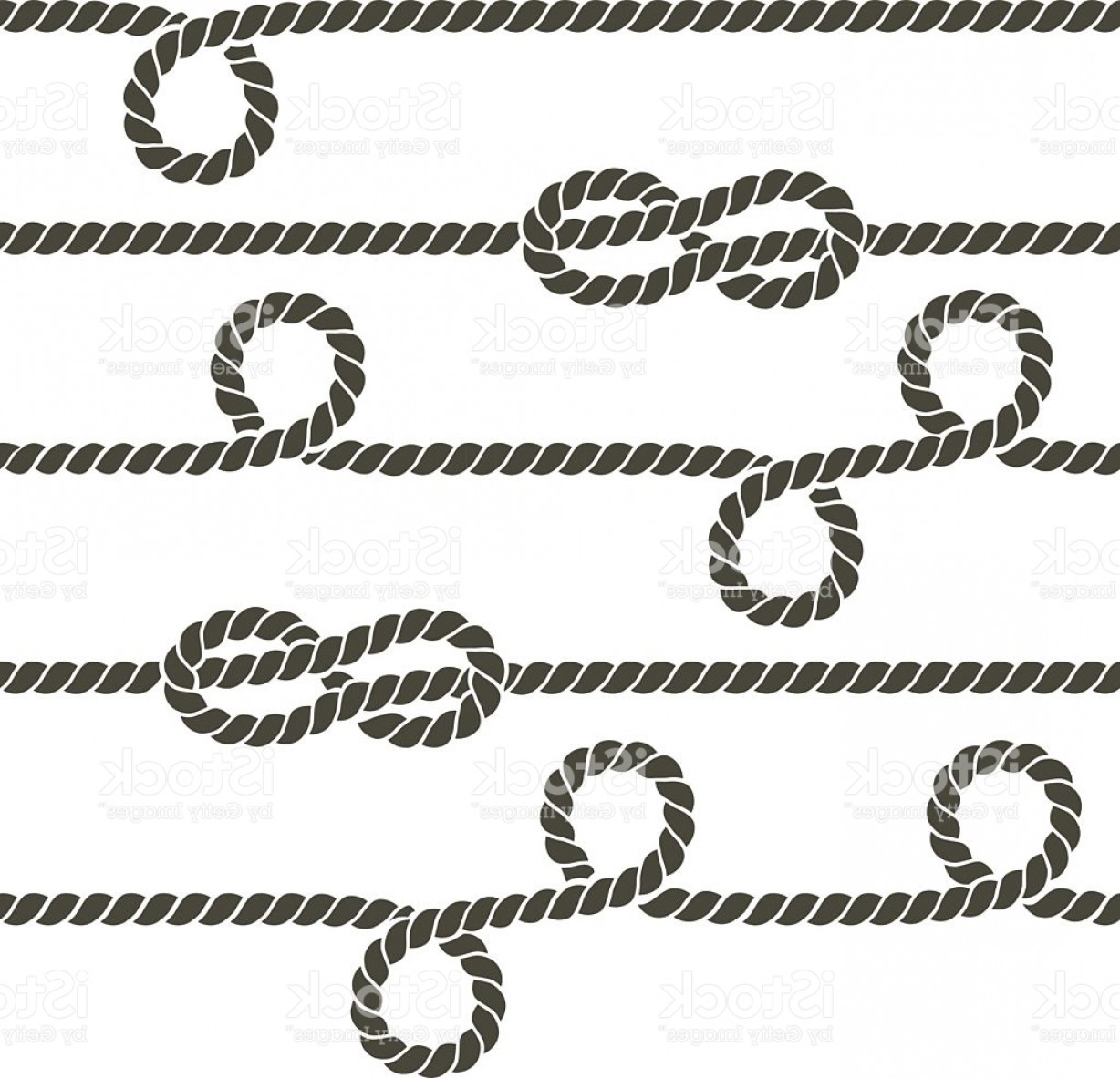 Design Vector Image Of Rope: Navy Rope With Marine Knots Vector Seamless Pattern Gm