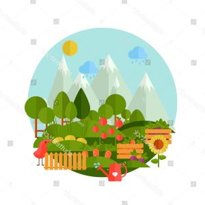 Landscaping Vector Retro: Natural Landscape Flat Style Garden Vegetables