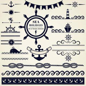 Nautical Text Divider Vector: Nautical And Sea Design Elements Vector Set Illustration