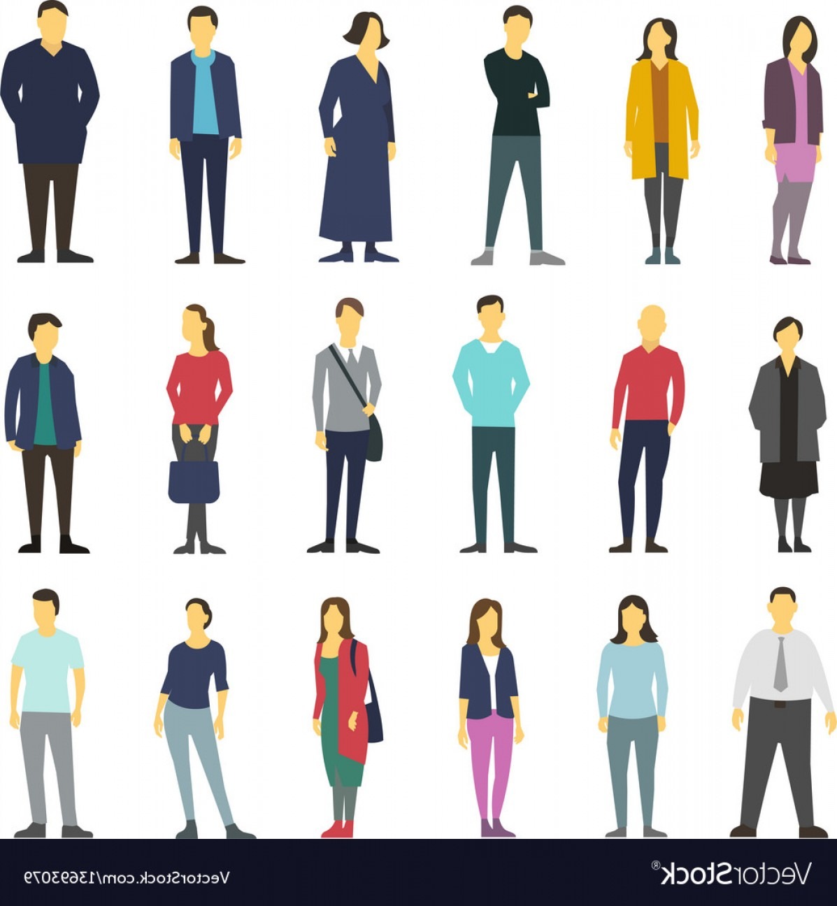 People Standing Vector: Neatly People Standing Flat Design Large Vector