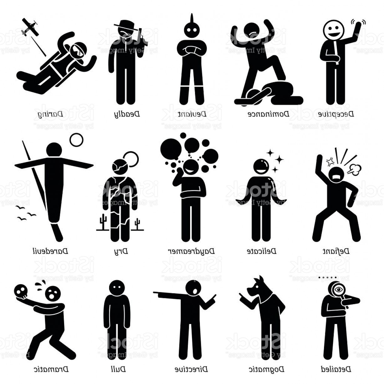 Cute But Deadly Vector: Neutral Personalities Character Traits Stick Figures Man Icons Gm