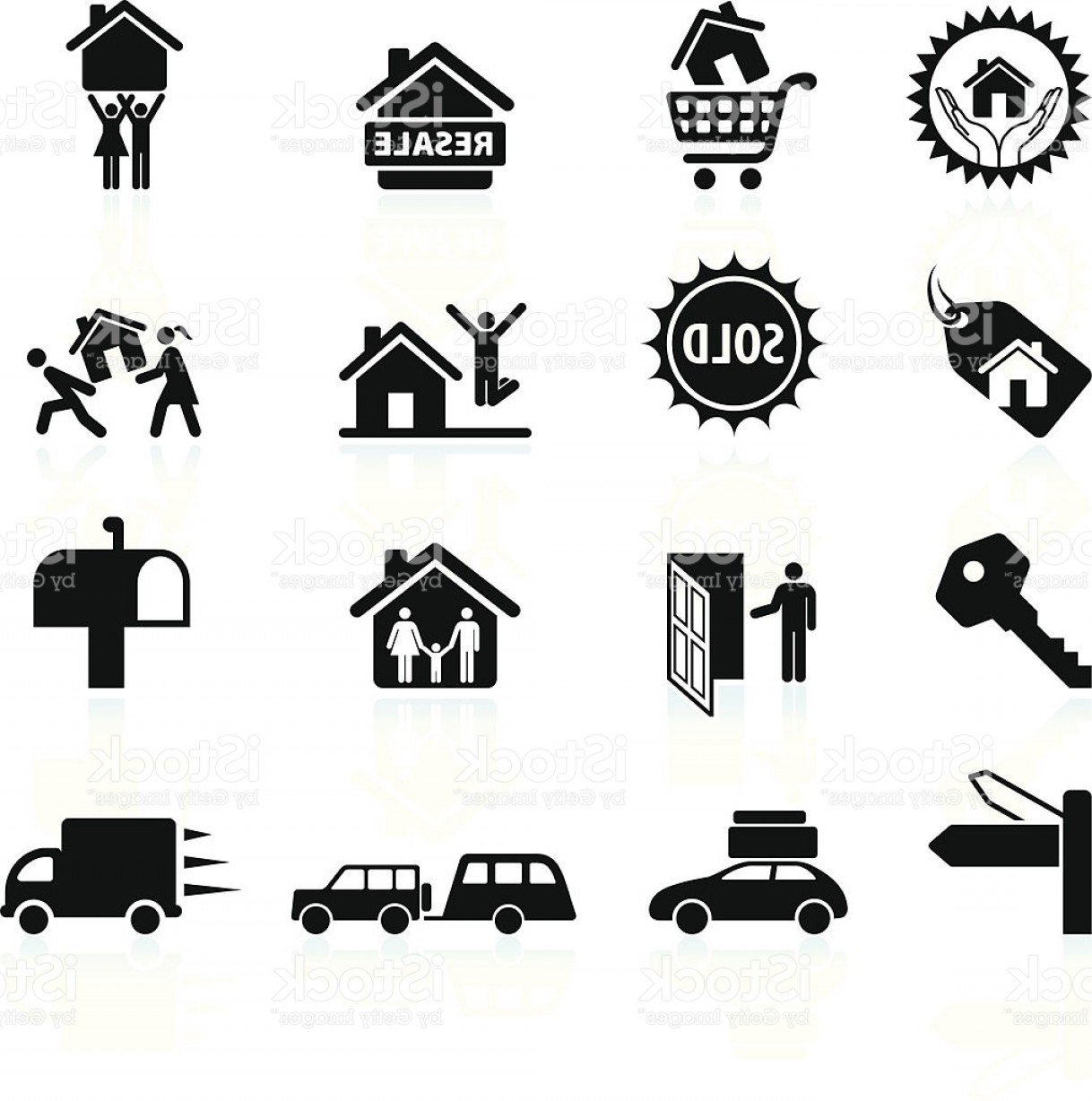 Purchase Vector Art: New House Purchase And Moving Black White Icon Set Gm