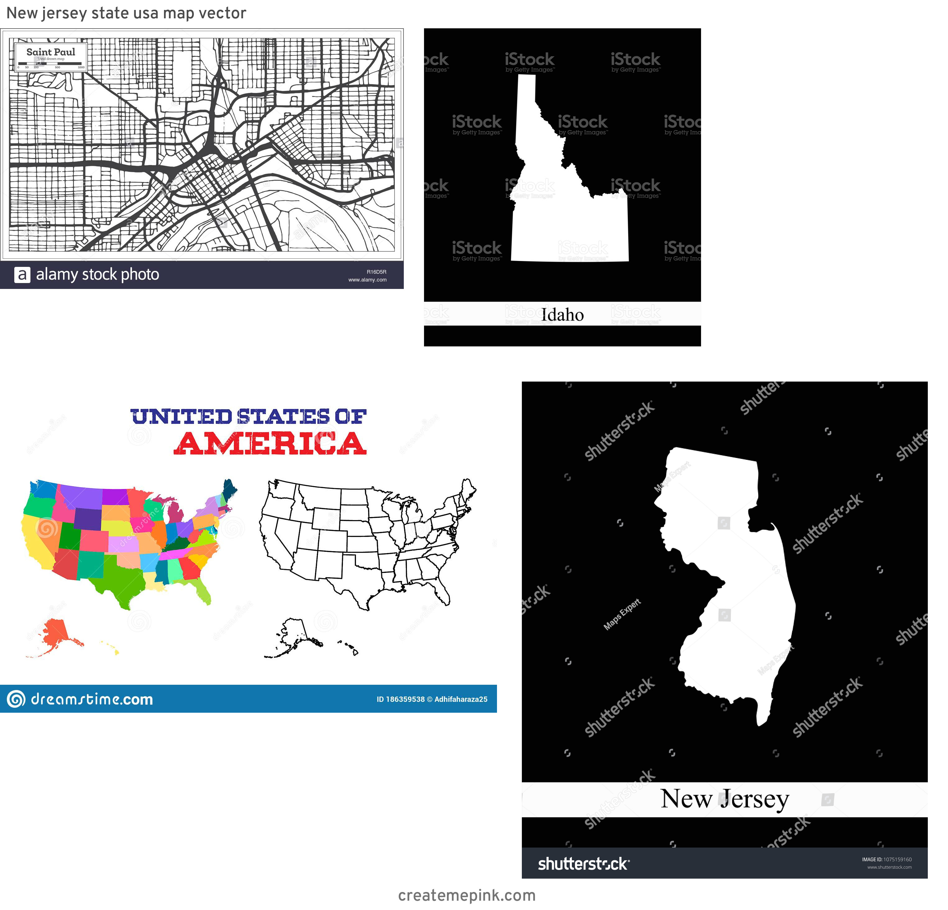 USA Map Vector Black: New Jersey State Usa Map Vector