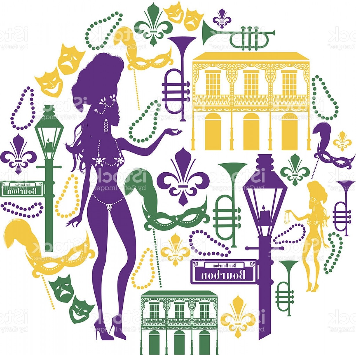 New Orleans Clip Art Vector Logo: New Orleans Icon Montage Gm