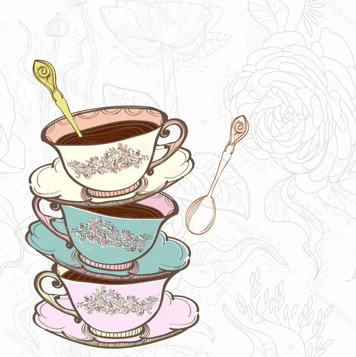 Vintage Tea Cup Vector: New Vintage Tea Cup Vector Free