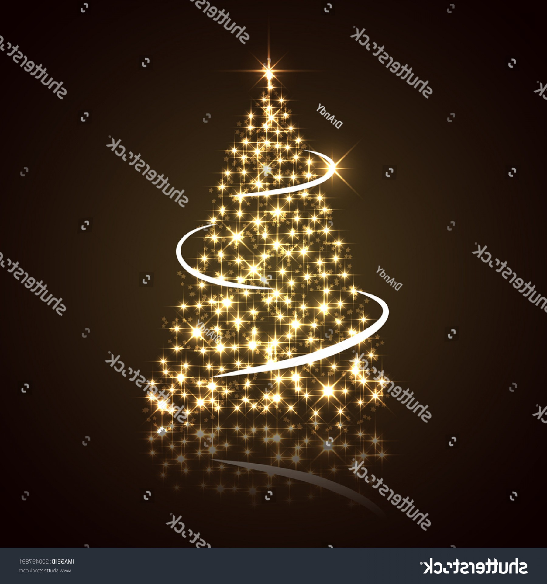 Less Christmas Tree Abstract Vector Background: New Year Christmas Tree Composed Shiny