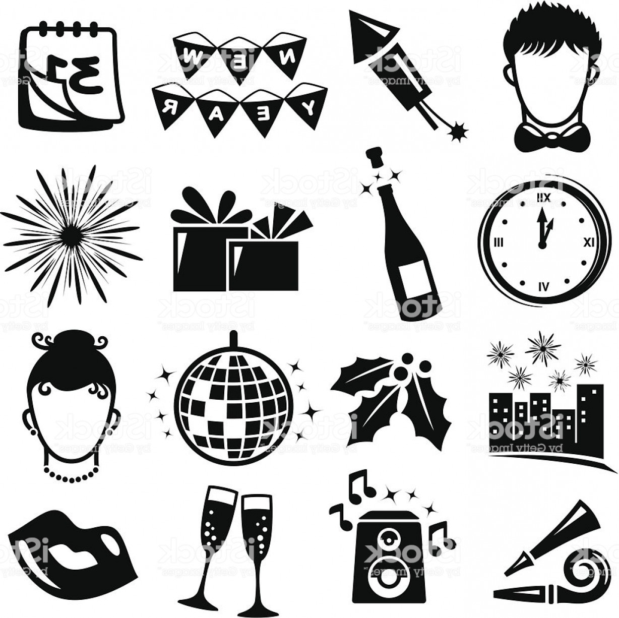 Vector New Year's Eve: New Year Eve Icons Set Gm