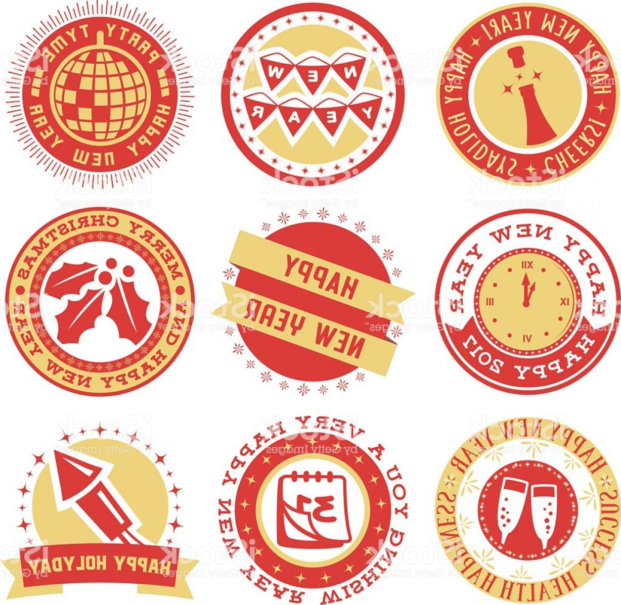 Vector New Year's Eve: New Year Eve Vector Seals Gm