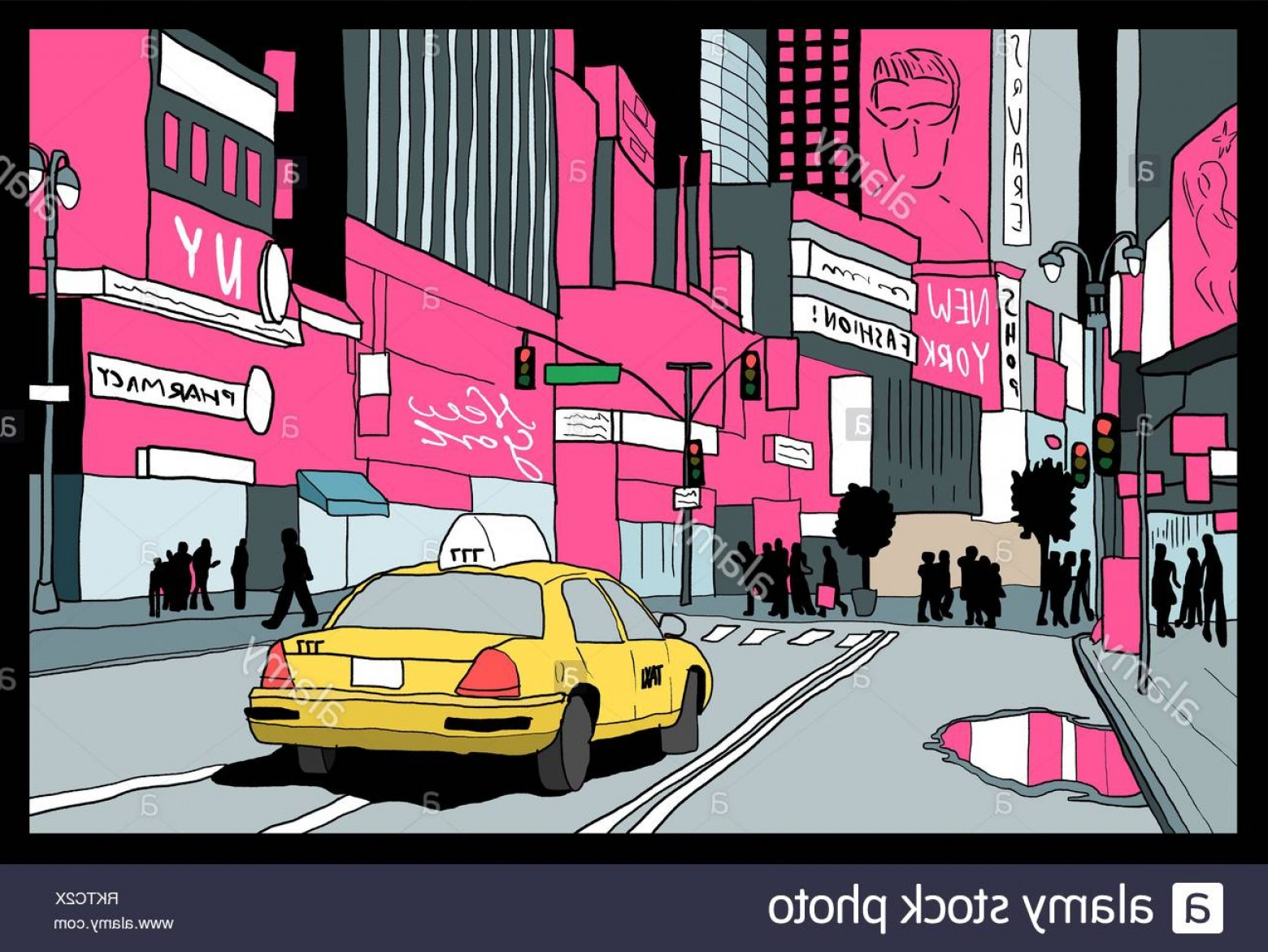 New York Taxi Cab Vector: New York City Lights Night View Of Manhattan Taxi Cab At Times Square Image