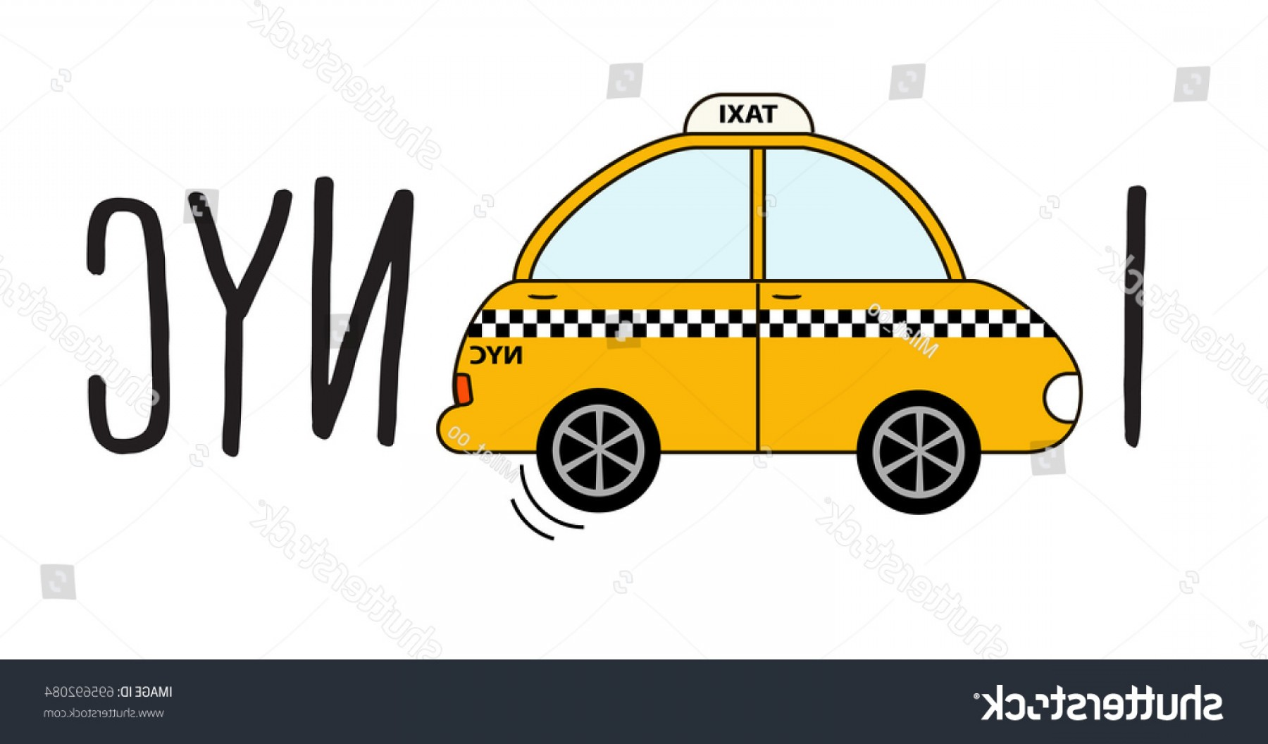 New York Taxi Cab Vector: New York City Taxi Clipart