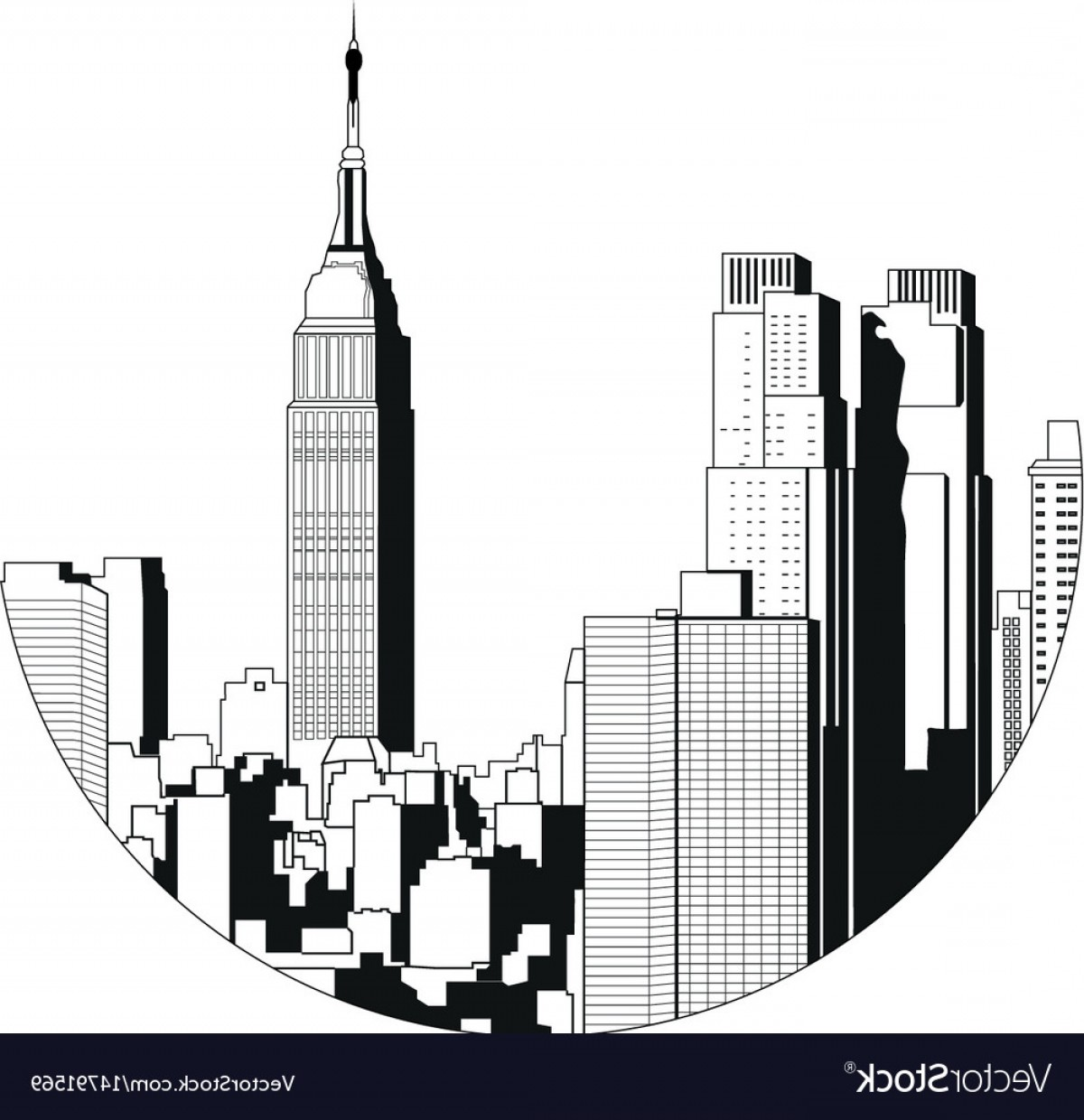 Empire State Vector: New York City View Empire State Building Vector