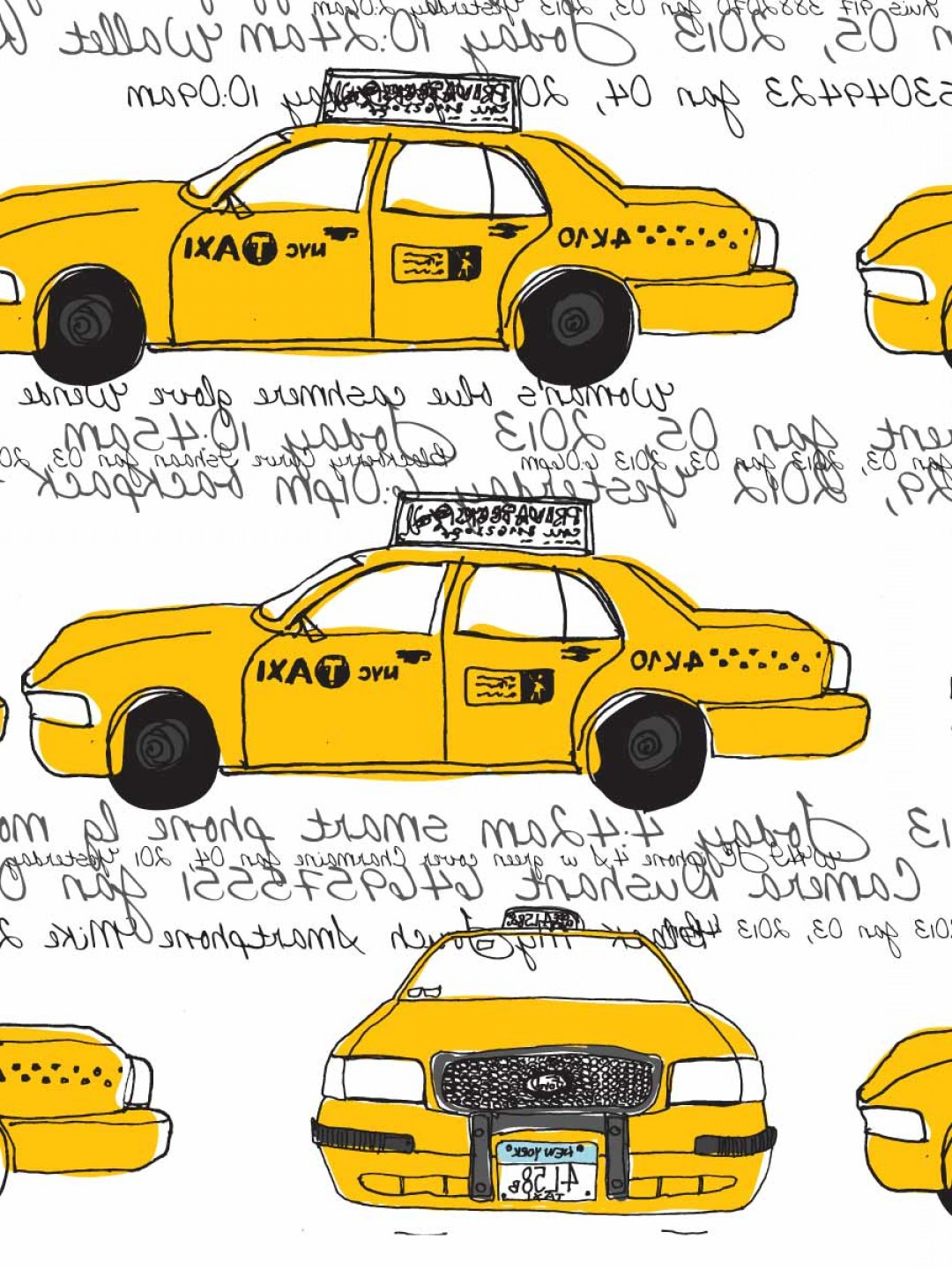 New York Taxi Cab Vector: New York City Yellow Cabs Freehand Vector Illustration