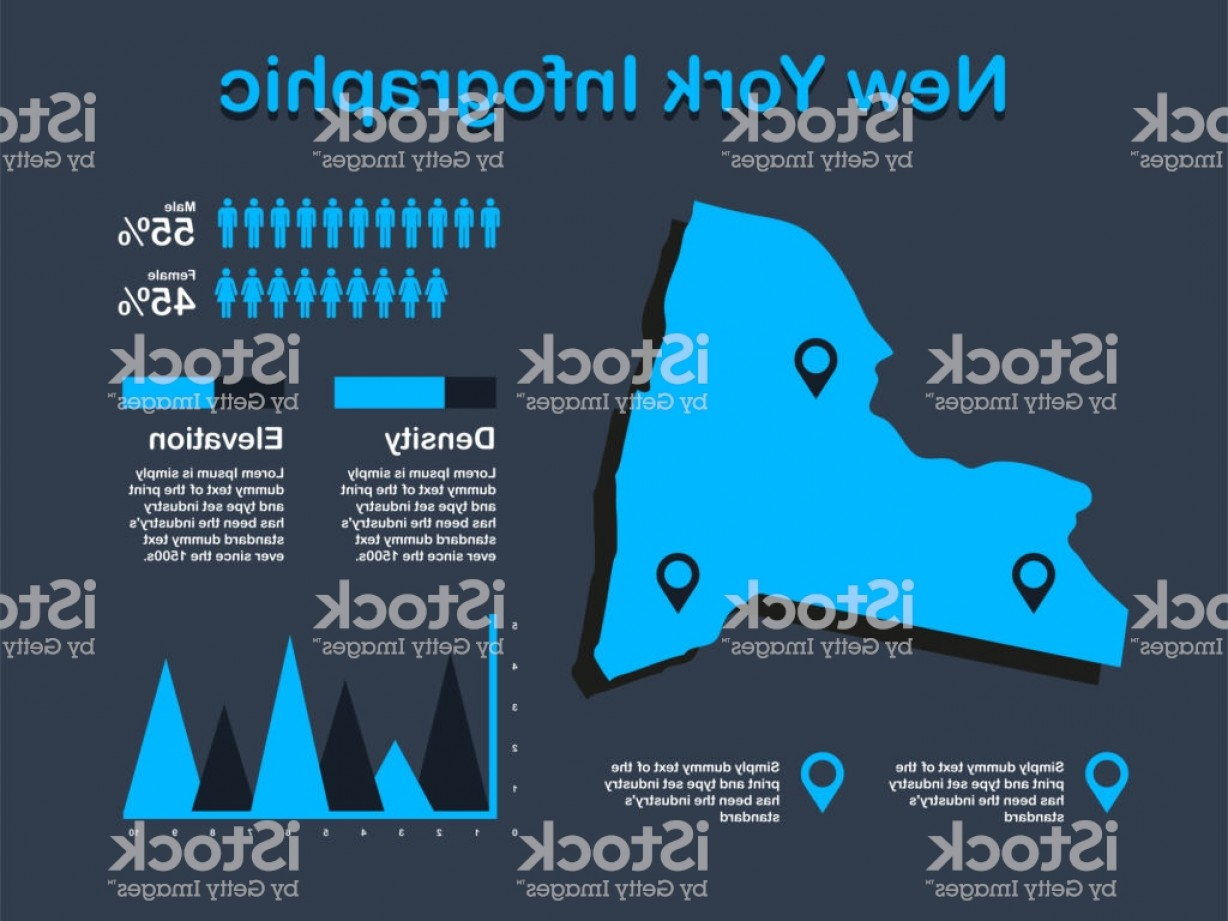 45 Pet Vector Map: New York State Map With Set Of Infographic Elements In Blue Color In Dark Background Gm