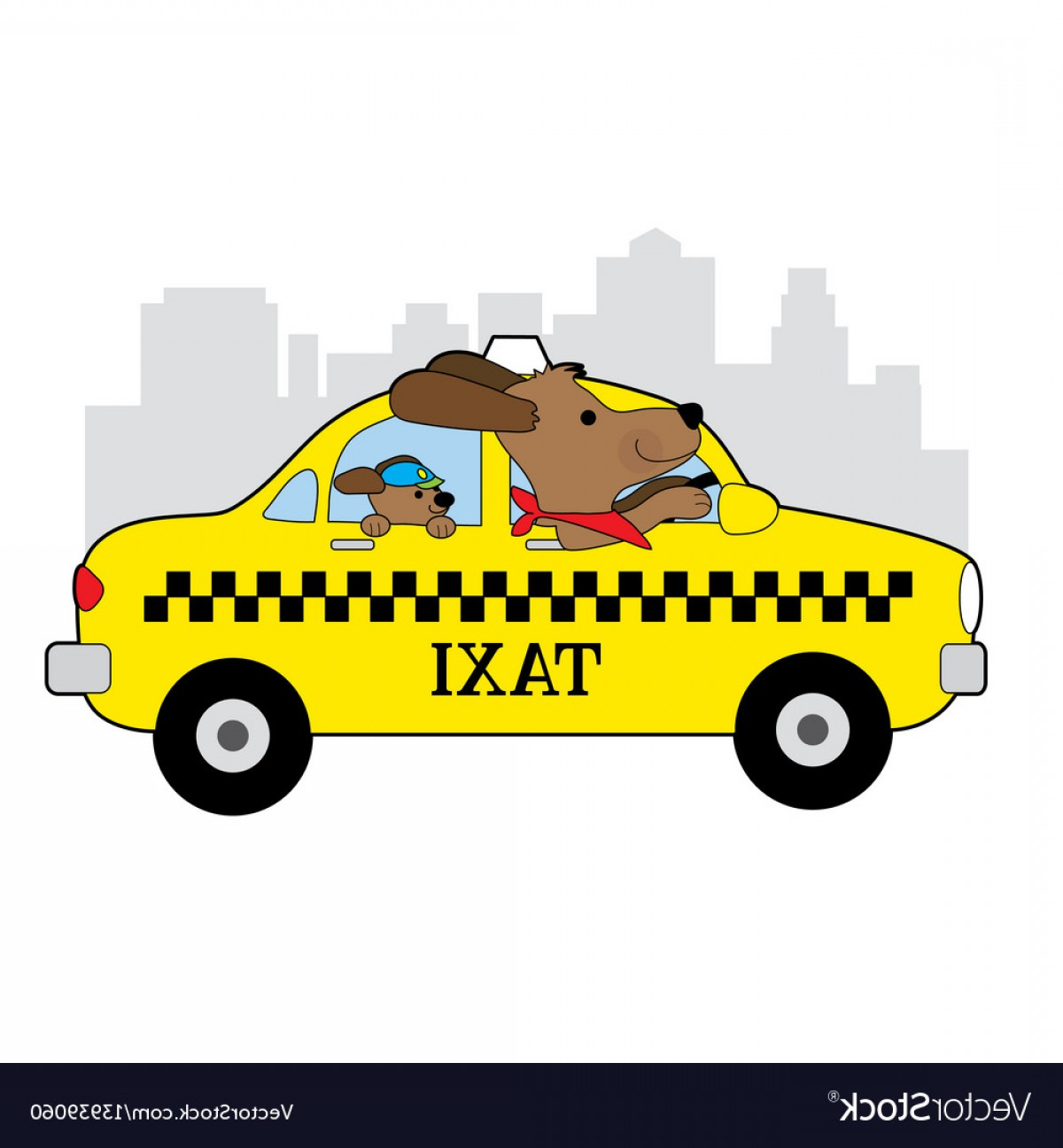 New York Taxi Cab Vector: New York Taxi Dog Vector