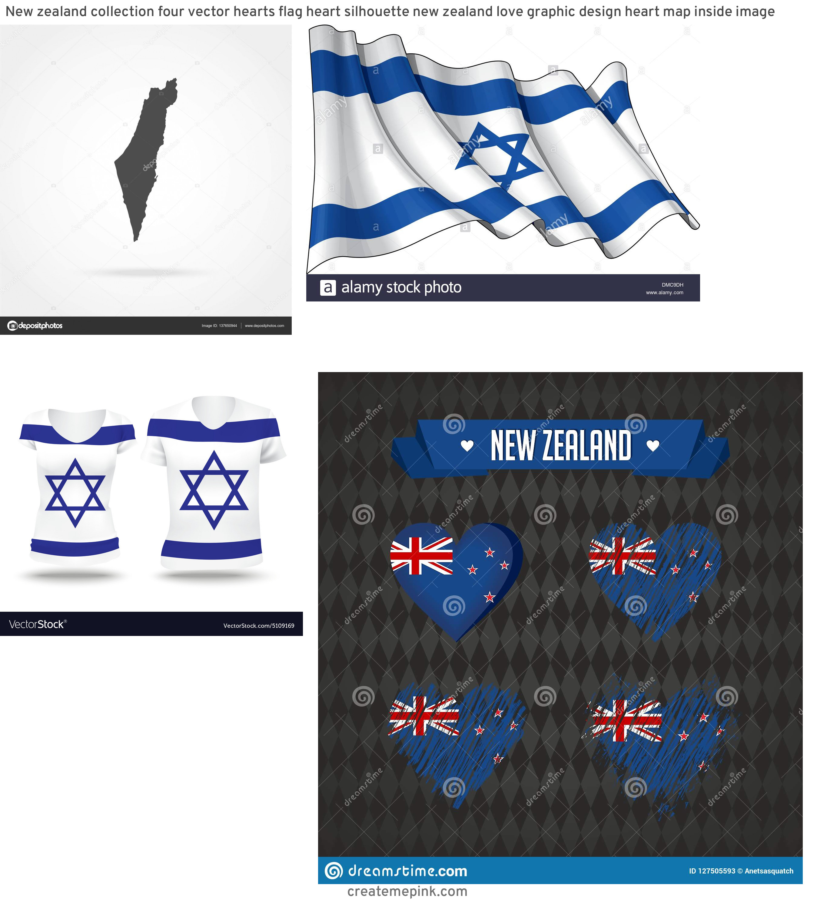 Israel And New Jersey Flag Vector: New Zealand Collection Four Vector Hearts Flag Heart Silhouette New Zealand Love Graphic Design Heart Map Inside Image