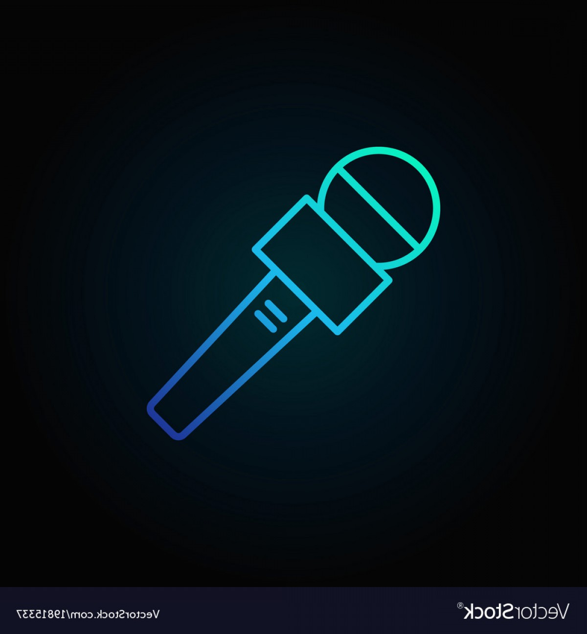 News Microphone Icon Vector: News Microphone Blue Icon On Dark Vector