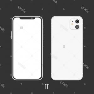 Black And White IPhone Vector Art: New Smartphone Model White Isolated On Black Image