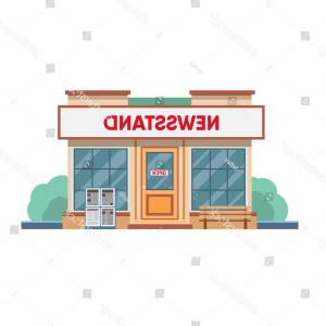 Vector Newspapers Snacks: Photostock Vector Newsstand Hand Drawn Press Kiosk Vector Illustration