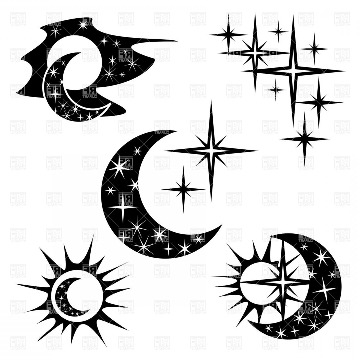 Star And Crescent Moon Vector: Night And Half Moon Crescent With Star Pattern Vector Clipart