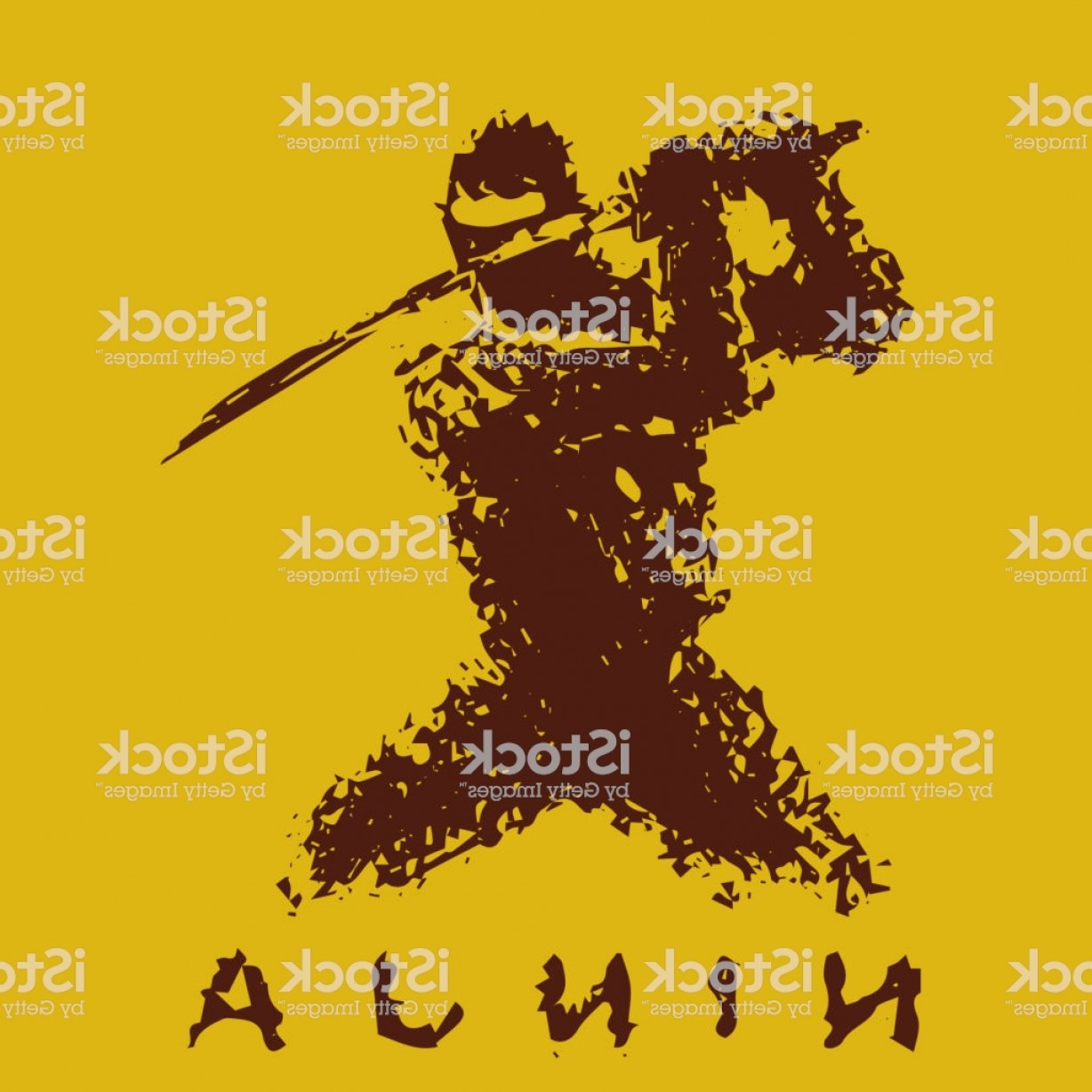 Attack Vector Game: Ninja With Sword Preparing To Attack Vector Illustration Gm