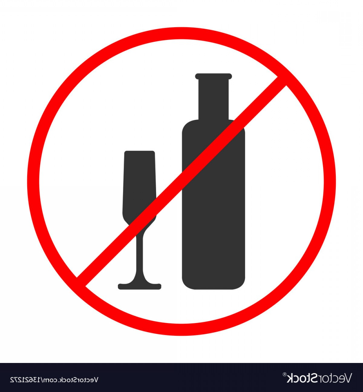 Vector No Alcohol: No Alcohol Sign And Symbol Prohibited Icon Vector