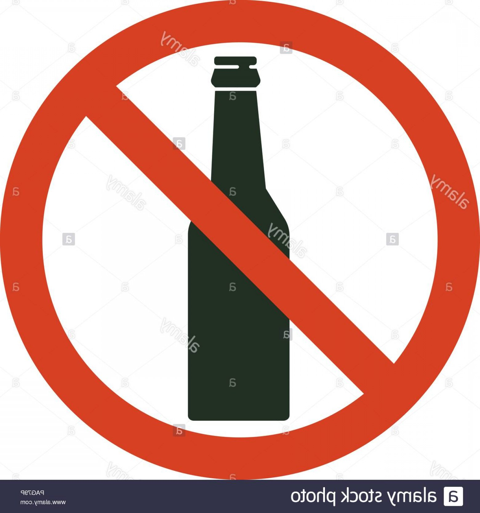 Vector No Alcohol: No Alcohol Sign Prohibiting Alcohol Beverages Red Forbidden Symbol With Bottle Vector Isolated Illustration Image