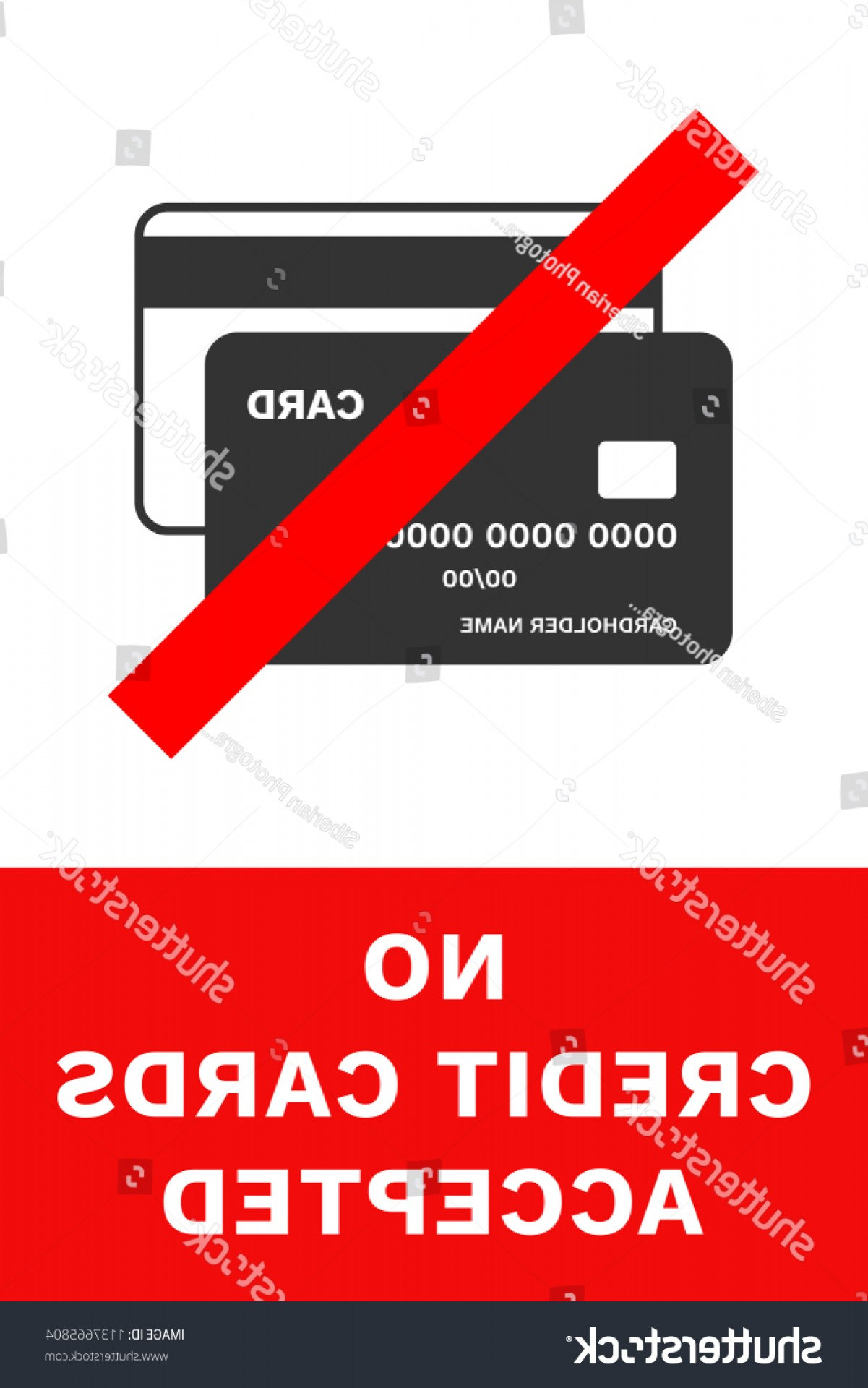 Vector Cards Accepted: No Credit Cards Accepted Sign Vector