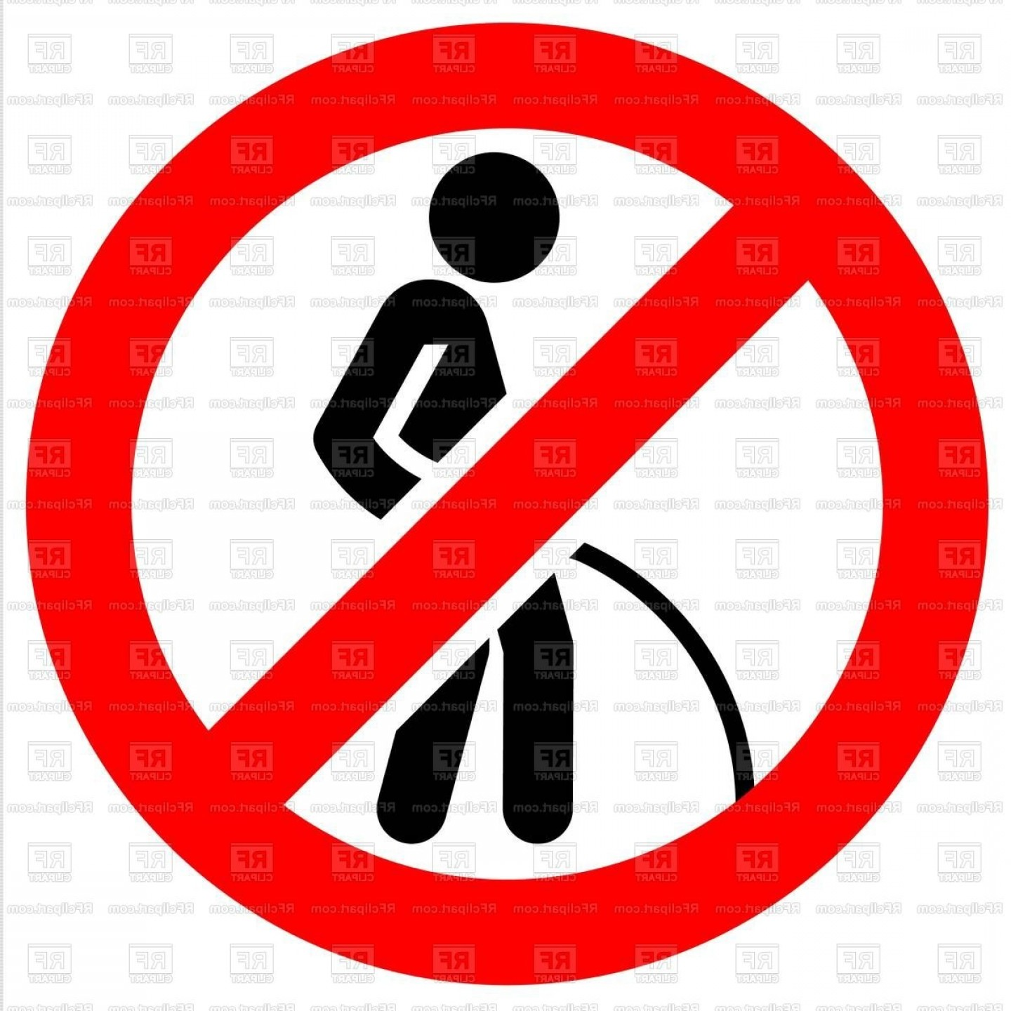 Pee On Clip Art Vector Graphic: No Pee Prohibition Sign Dont Urinate No Toilet Here Vector Clipart