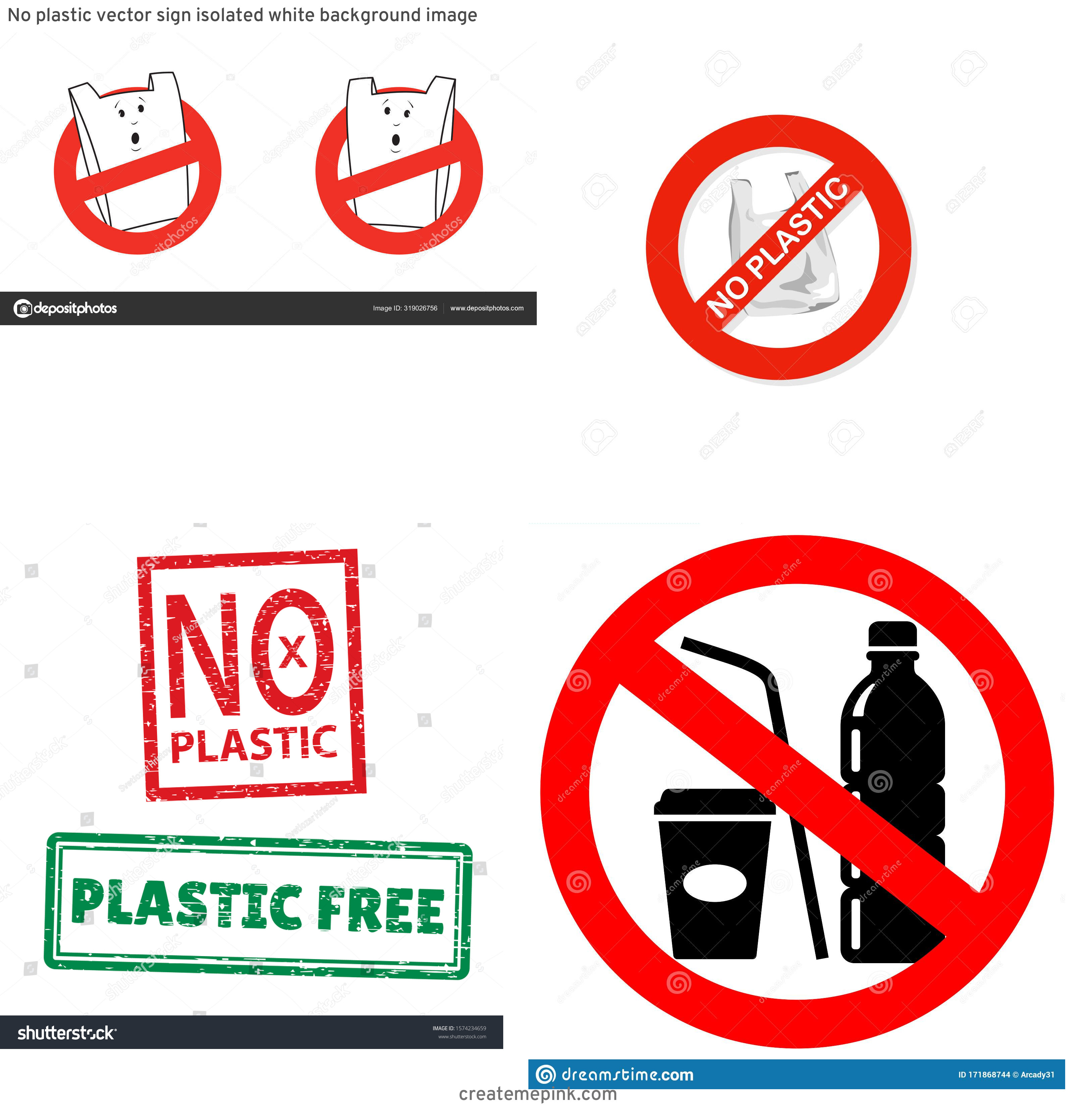 Vector No Plastic: No Plastic Vector Sign Isolated White Background Image