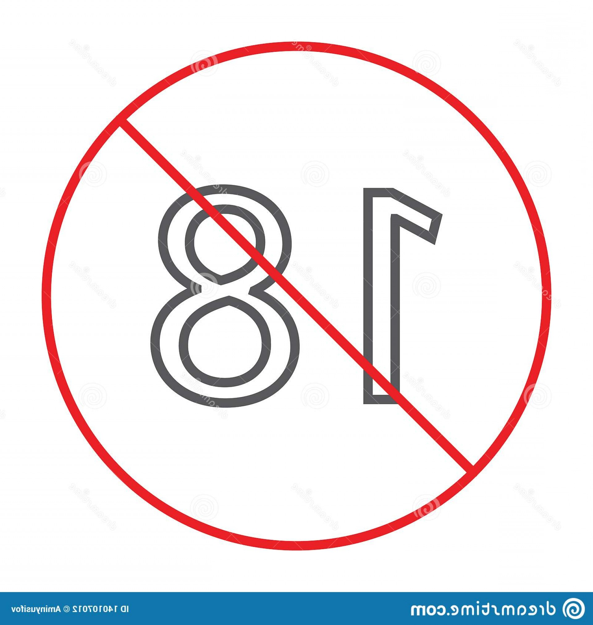 Vector Ban Plus: No Plus Thin Line Icon Prohibited Ban Age Restriction Sign Vector Graphics Linear Pattern White Background Eps Image
