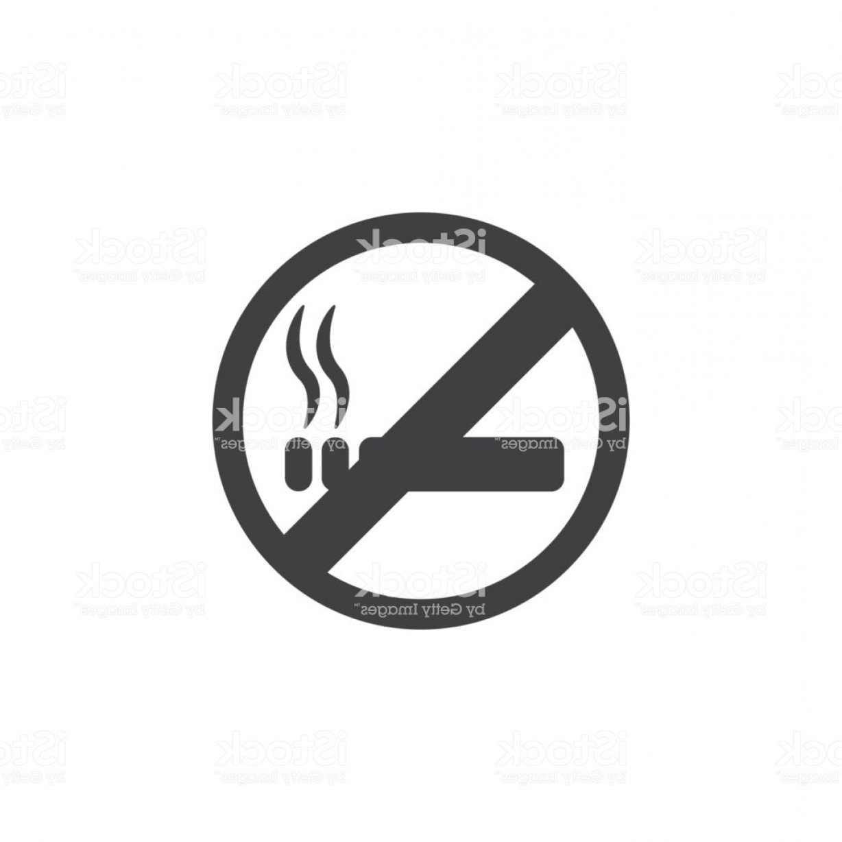 No Smoking Vector Art Black And White: No Smoking Icon In Black On A White Background Vector Illustration Gm