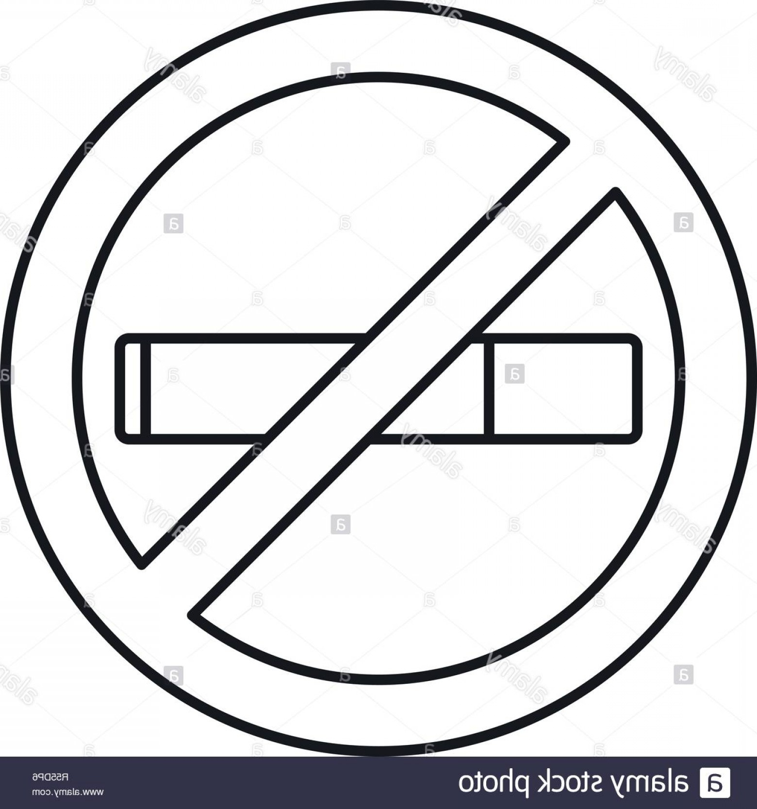 No Smoking Vector Art Black And White: No Smoking Icon Outline Illustration Of No Smoking Vector Icon For Web Design Isolated On White Background Image