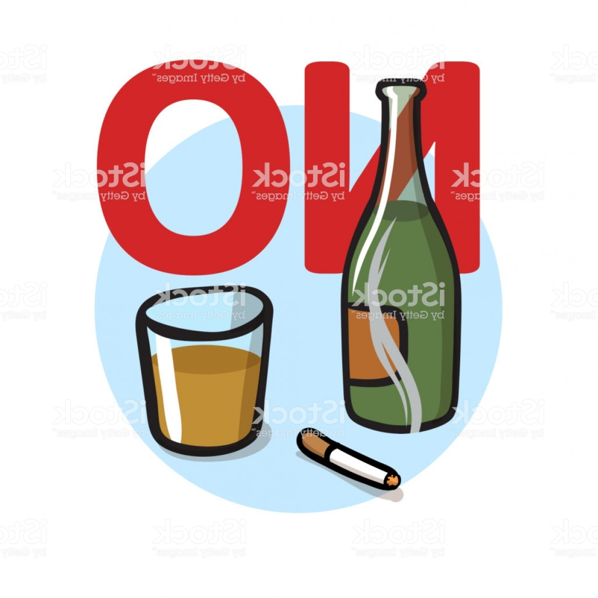 Vector No Alcohol: No Smoking No Alcohol Flat Vector Illustration Isolated On White Background Gm