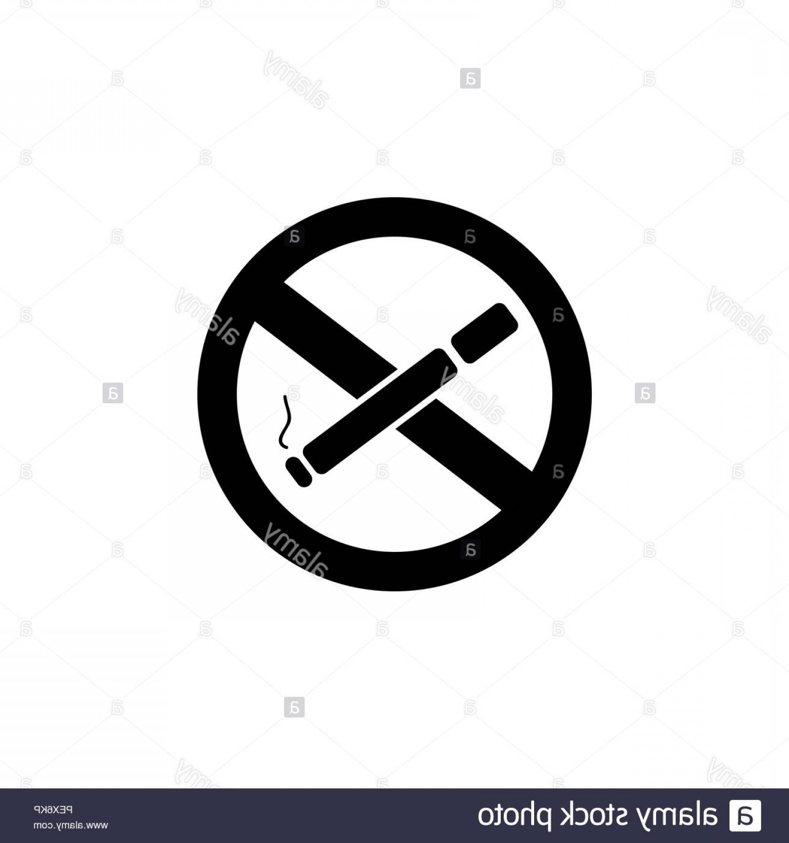 No Smoking Vector Art Black And White: No Smoking Sign Vector Black On White Background Image