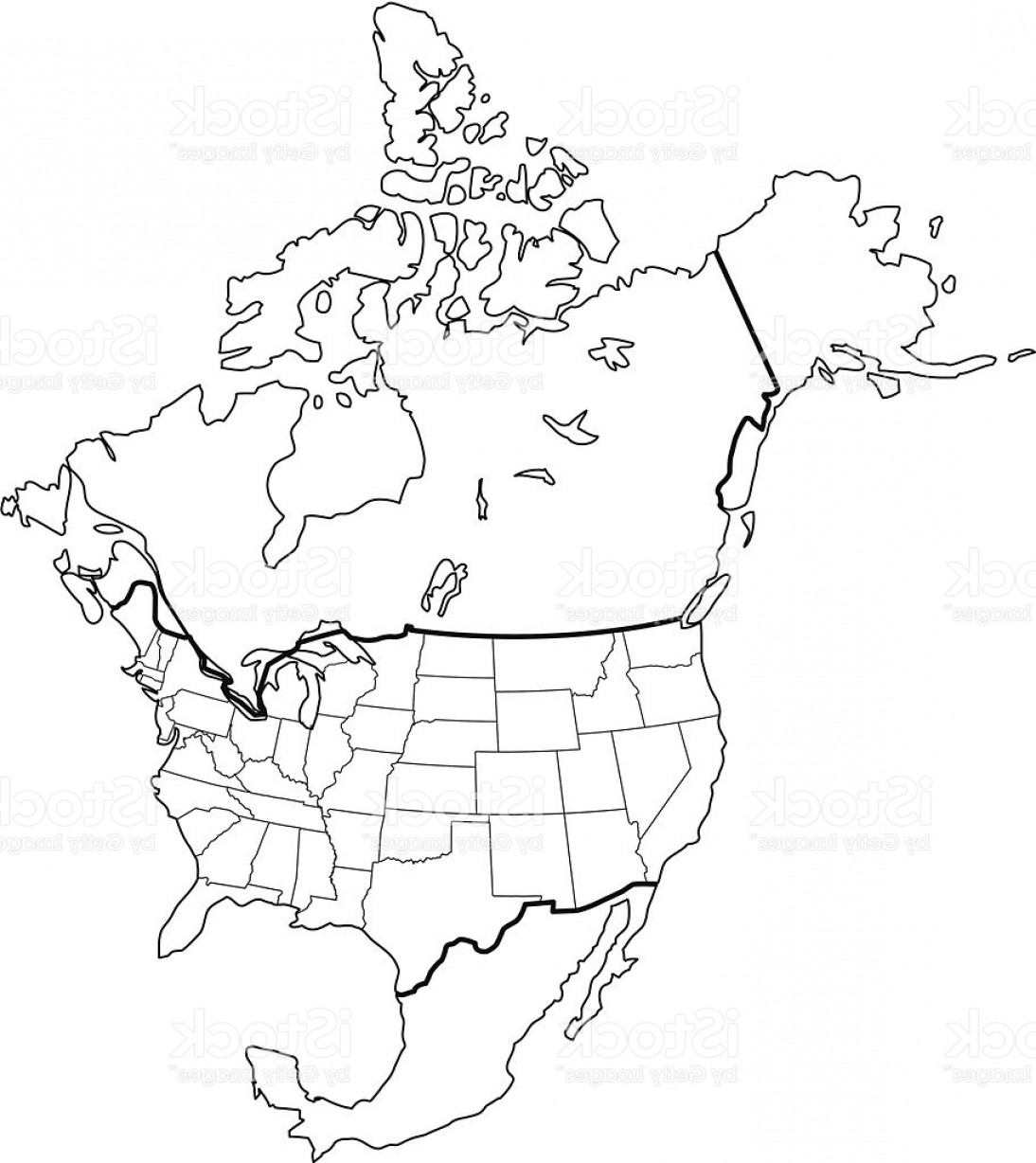 Alaska State White Background Vectors: North America Map Outline White Background Gm