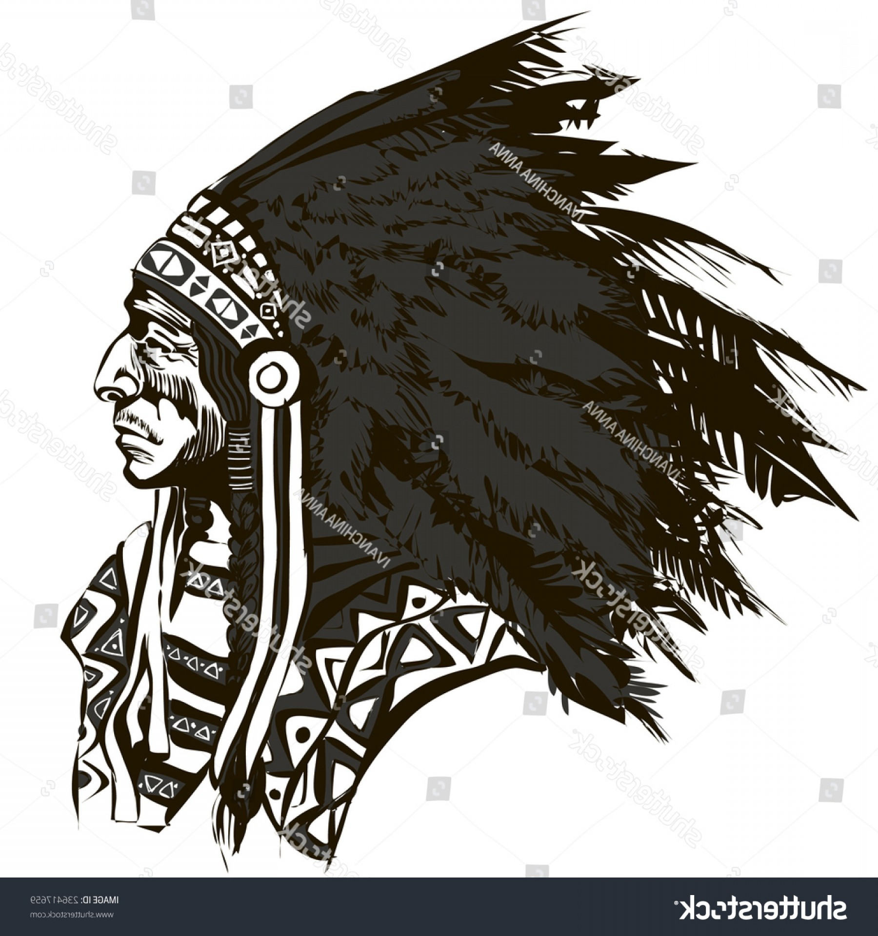 American Indian Chief Vector: North American Indian Chief Vector Illustration
