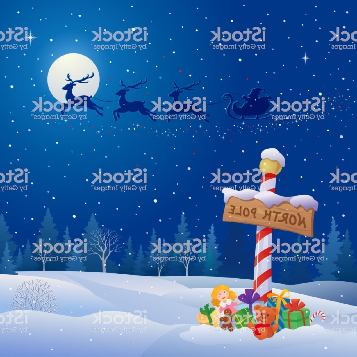 North Pole Landscape Vector: North Pole And Santa Sleigh Gm