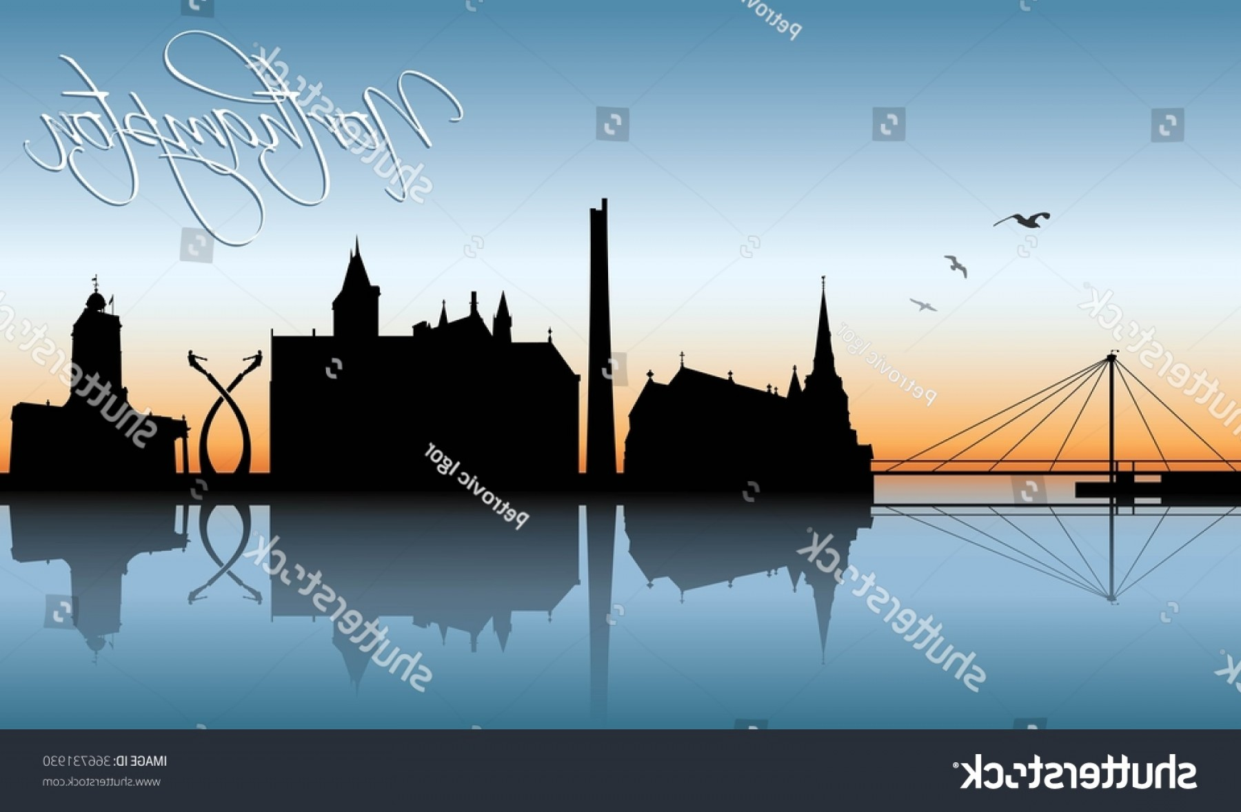 UK Skyline Vector: Northampton Uk Skyline Vector Illustration