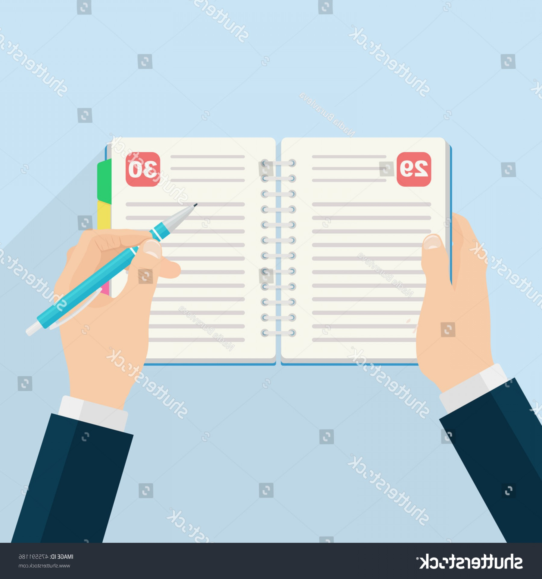 Notepad Writing Hand Vector: Notebook Bookmark Isolated On Background Hand